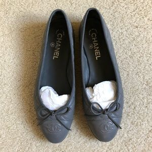 Chanel Dark Grey Quilted Leather Ballet Flats 38.5